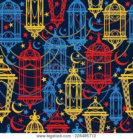 Seamless Pattern Of Ramadan Kareem Lanterns. Happy Ramadan Nd Celebration.