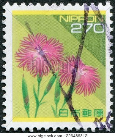 Japan - Circa 1994: A Stamp Printed In Japan, Depicts A Flower Dianthus Superbus (large Pink), Circa