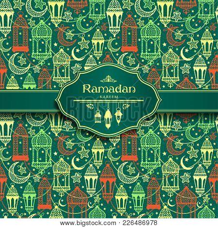 Seamless Pattern Of Ramadan Kareem Lanterns. Happy Ramadan Celebration.