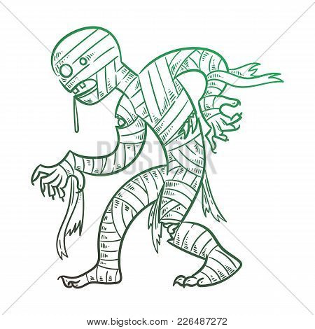 Vector Illustration With Scary Mummy. Halloween Costume