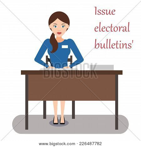 The Work Of The Election Commission: Girl Enters The Data Of Voters In The Book And Issues Ballots F