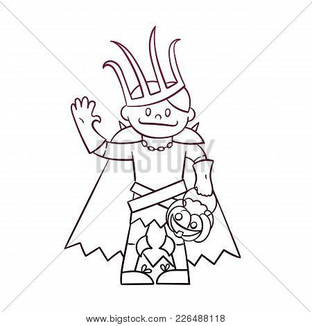 Cute Boy In Costume Of Lich Or Russian King Koschey. Vector Illustration