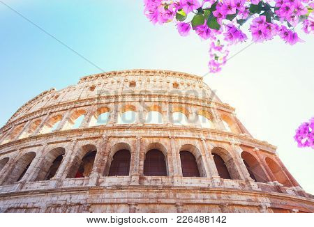 Ruins Of Colosseum, Close Up Details Of Facade With Flowers, Sunny Day In Rome Italy, Retro Toned