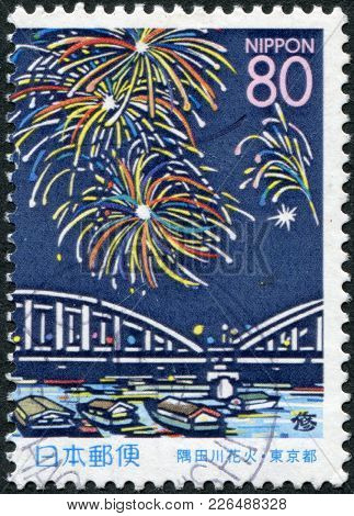 Japan - Circa 1999: A Stamp Printed In Japan, The Prefecture Hokkaido, Salute Over The Sumida River,