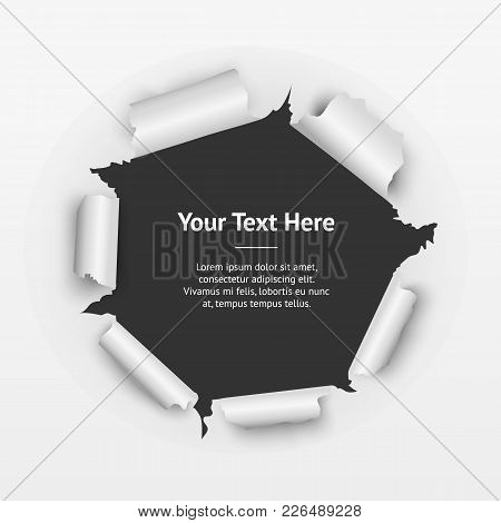 Realistic Detailed Torn Circle Hole Paper On A Background Decorative Effect For Web Design. Vector I