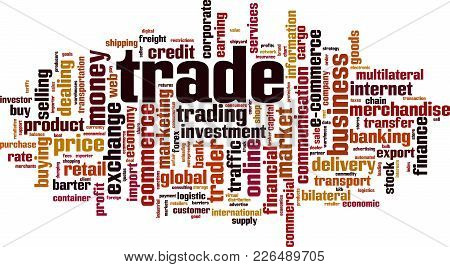 Trade Word Cloud Concept. Vector Illustration On White