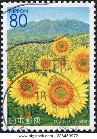 Japan - Circa 2005: A Stamp Printed In Japan, Prefecture Yamanashi, Shows The Field Of Sunflower And