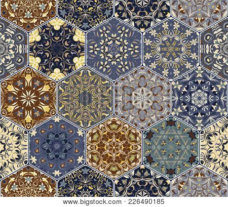 Multicolor Vector Set Of Hexagonal Tiles In Arabic Style. Oriental Designs For The Design Of Ceramic