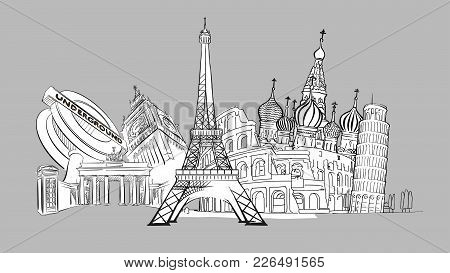 Travel To Europe. Hand-drawn Collection. Tourism Sketch Concept With Landmarks. Modern Travelling Ve
