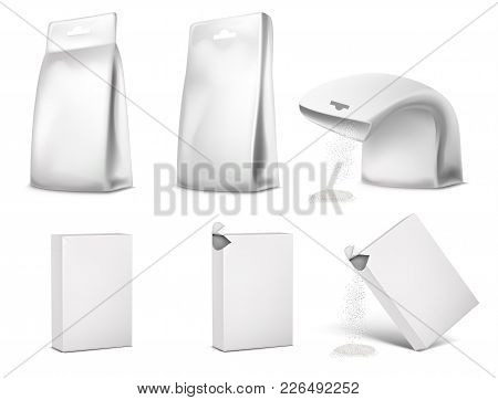 Vector Illustration Of Blank White Packaging, Package Design. Template Of Sachet, Empty Mockup Of Bo