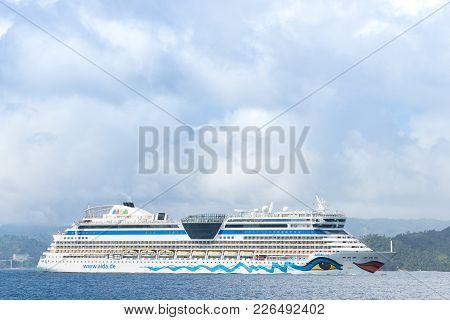 Island Bacardi ( Cayo Levantado), Samana, Dominican Republic. January 2018. Big Tourist Liner In The