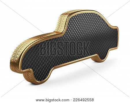 Golden Car In The Form Of A Machine. Abstract Car From Tires. 3d Illustration Isolated Over White Ba