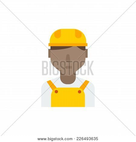 African Worker Icon Flat Symbol. Isolated Vector Illustration Of African Employee Sign Concept For Y