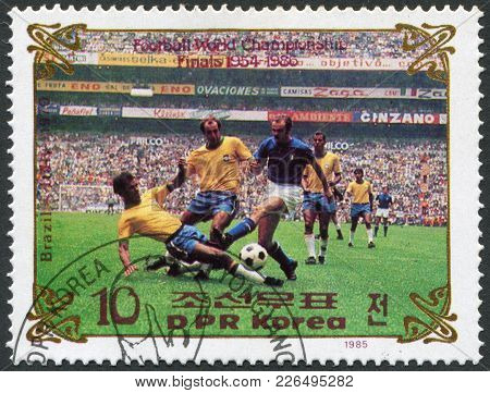 North Korea - Circa 1985: A Stamp Printed In North Korea, Shows The Final World Cup 1970, Brazil - I