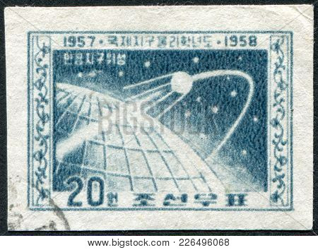 North Korea-circa 1958: A Stamp Printed In The North Korea, Dedicated To The International Geophysic