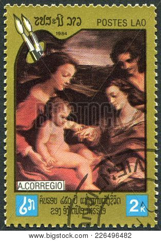 Laos-circa 1984: A Stamp Printed In The Laos, Depicts A Picture Mystical Marriage Of St. Catherine,