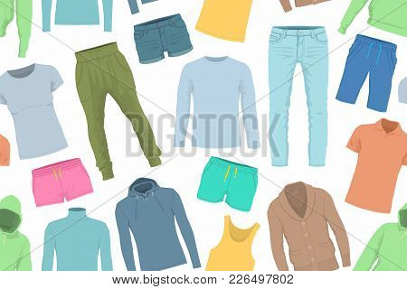 Seamless Pattern Of Colorful Clothes. Background Of Clothing. Scattered Clothes