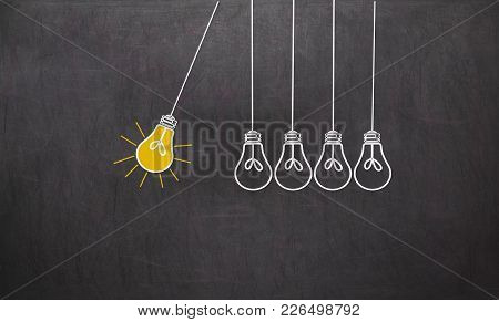 Great Idea. Creativity Concept With Light Bulbs On Chalkboard Background