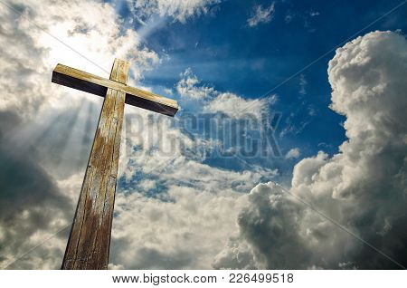 Wooden Cross On Sky Background With Clouds, 3d Illustration, Happy Easter. Christian Symbol.