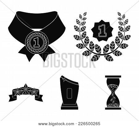 Winner For The First Place In The Competition, A Crystal Prize, A Ribbon With The Stars, A Medal On