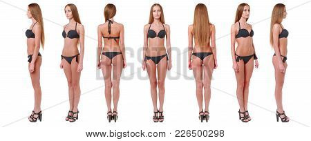 Professional Fashion Model Posing. Woman Show Poses And Emotions Closeup