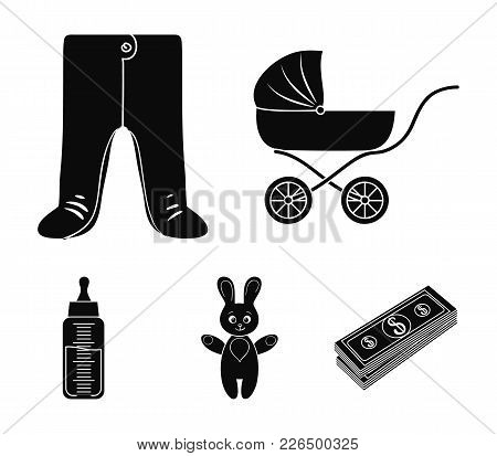 Stroller, Bottle With A Pacifier, Toy, Sliders.baby Born Set Collection Icons In Black Style Vector
