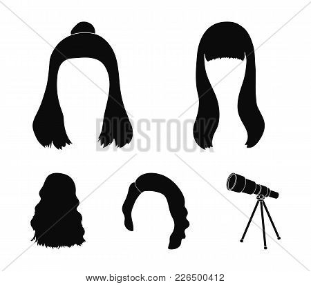 Long, Red And Other Types Of Hairstyles. Back Hairstyle Set Collection Icons In Black Style Vector S