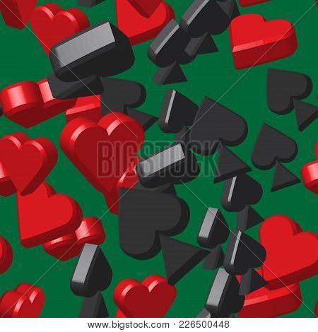 Card Peaks And Hearts Seamless Pattern, Green Background