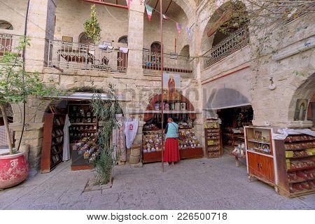 Judean Desert, Israel. - February 18.2017. In The Courtyard Of The Monastery Of Gerasim Of Jordan Lo