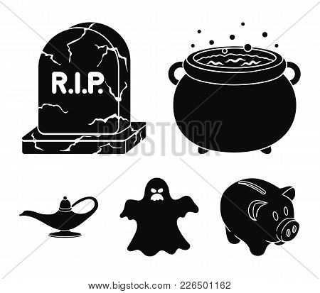 A Witch's Cauldron, A Tombstone, A Ghost, A Gin Lamp.black And White Magic Set Collection Icons In B