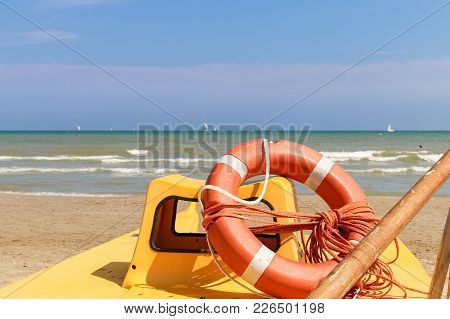 Lifebuoy On A Lifeboat By The Sea, Italy, Riccione