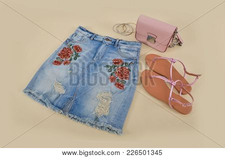 embroidery,floral,rose female Jeans skirt, shoes, bag - beige background
