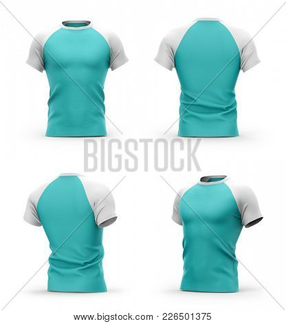 Men's t shirt with round neck and raglan sleeves. 3d rendering. Isolated on white background.