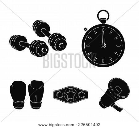 Boxing, Sport, Stopwatch, Watch .boxing Set Collection Icons In Black Style Vector Symbol Stock Illu