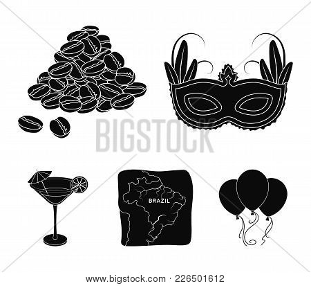 Brazil, Country, Mask, Carnival . Brazil Country Set Collection Icons In Black Style Vector Symbol S