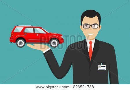 Smiling Salesperson Showing The Car. Auto Business Car Sale Concept. Detailed Illustration Of Busine