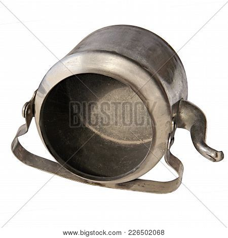 Old Kettle Isolated On White Background Lies On One Side. Metal Brass Kettle End Of The 19Th - 20Th