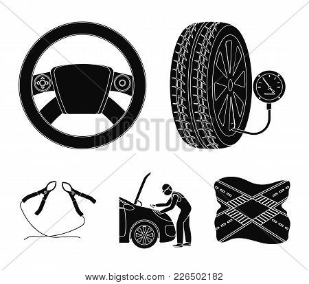 Engine Adjustment, Steering Wheel, Clamp And Wheel Black Icons In Set Collection For Design.car Main