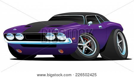 Hot American Muscle Car Cartoon. Purple And Black Paint, Aggressive Stance, Low Profile, Big Tires A