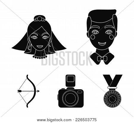 Groom, Bride, Photographing, Arrow Of The Cupid. Wedding Set Collection Icons In Black Style Vector