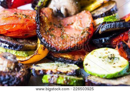 Grill From Vegetables. Barbecue With Fresh Vegetables. Vegetarian Dish. A Delicious Vegetable Dish.