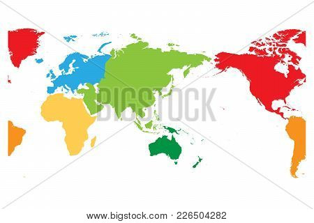 World Map Divided Into Six Continents. Asia And Australia Centered. Each Continent In Different Colo