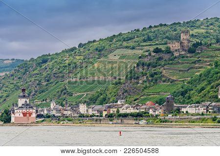 The Pfalzgrafenstein Castle, A Toll Collecting Station On The Falkenau Island Near Kaub, Germany.  G