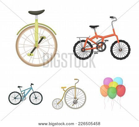 Retro, Unicycle And Other Kinds.different Bicycles Set Collection Icons In Cartoon Style Vector Symb