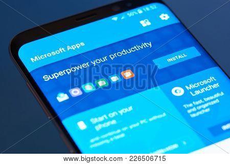 New York, Usa - February 13, 2018: Microsoft Apps  Moblie Menu Application Menu On Smartphone Screen