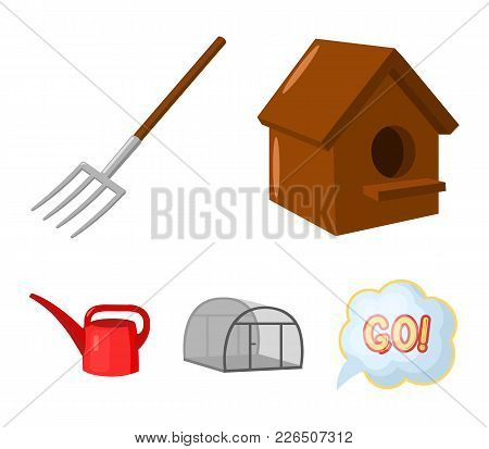 Poultry House, Pitchfork, Greenhouse, Watering Can.farm Set Collection Icons In Cartoon Style Vector