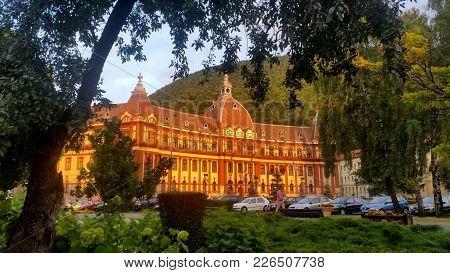 Brasov, Romania - July 25, 2017: Beautiful Brasov County Council Building In Transylvania, Romania