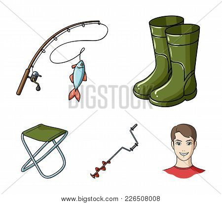 Fishing, Fish, Catch, Fishing Rod .fishing Set Collection Icons In Cartoon Style Vector Symbol Stock