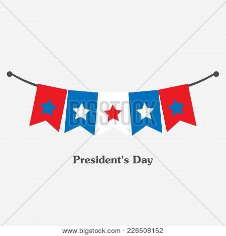 Vector Illustration Patriotic Background With Bunting Flags For Happy Presidents Day