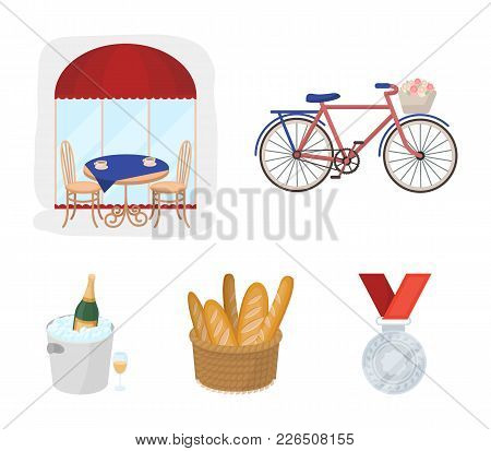 Bicycle, Transport, Vehicle, Cafe .france Country Set Collection Icons In Cartoon Style Vector Symbo